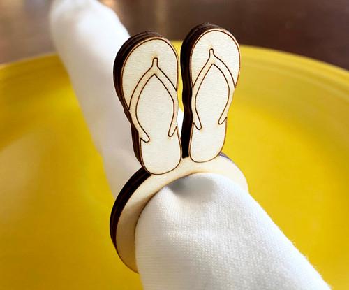 Flip Flops Wood Napkin Rings