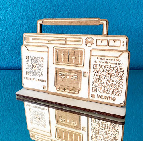 Scannable QR Code Boombox Sign