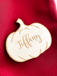 Pumpkin Wood Engraved Place Cards