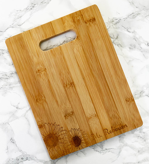 Sunflowers Personalized Name Cutting Board