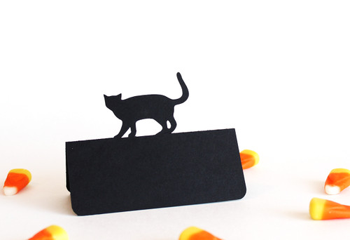 Cat place card - black