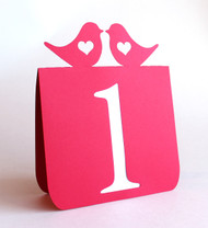 Love bird with heart table numbers