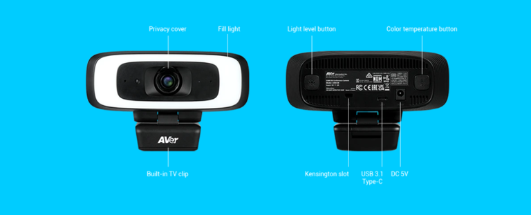 AVer CAM130 Compact Video Conferencing Webcam for Zoom, Microsoft Teams and Google Meets