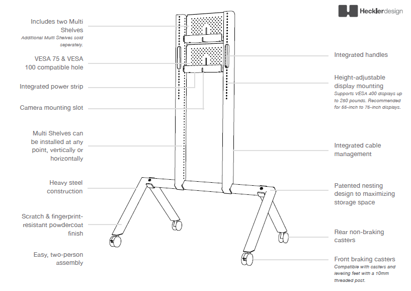 Heckler Design AV Cart Diagram