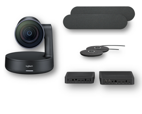 Logitech Rally Plus Solution including two speakers and two mic pods