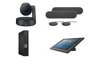 Zoom Rooms Kit featuring the Logitech Rally Camera with two speaker and mic and Dell OptiPlex Perfect for any Large Room