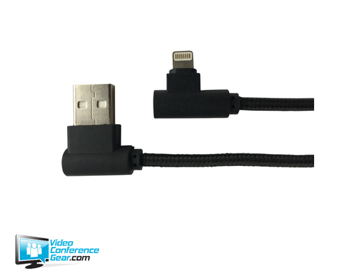 Conference Room Right Angle USB Power Cable with Lightning