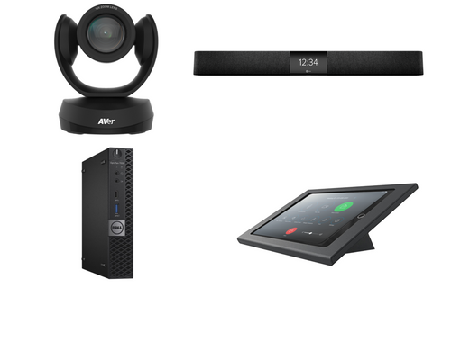 RingCentral Rooms Kit featuring the AVer CAM520 Pro2 and Nureva HDL200 with Dell OptiPlex for Conference Rooms up to 18' x 18'