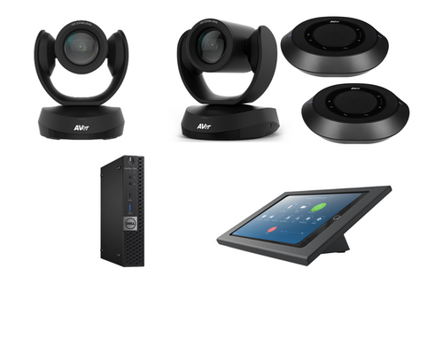 Distance Learning Zoom Rooms Kit with AVer VC520 Pro2, CAM520 Pro2, 2 Speakerphones with ceiling mounts, Dell ZR PC, iPad Mini, Consoles & Cables