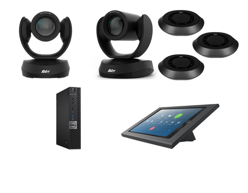 Distance Learning Zoom Rooms Kit with AVer VC520 Pro, CAM520 Pro, 3 Speakerphones with ceiling mounts, Dell ZR PC, iPad Mini, Consoles & Cables