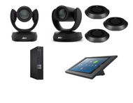 Distance Learning Zoom Rooms Kit with AVer VC520 Pro2, CAM520 Pro2, 3 Speakerphones with ceiling mounts, Dell ZR PC, iPad Mini, Consoles & Cables