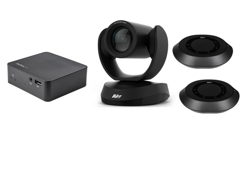 Multi Platform Distance Learning Classroom Kit with AVer VC520 Pro with 2 Speakerphones with ceiling mounts