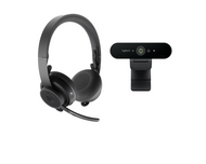 Logitech Zone Wireless + Brio 4K webcam Professional Work-from-Home or Office Video Conferencing Bundle