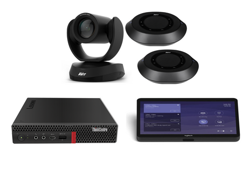 Microsoft Teams Kit featuring the AVer VC520 Pro2 with Dual Speakerphones and the Lenovo Tiny Designed for Larger Conference Rooms or Classrooms