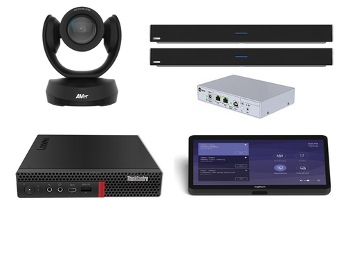 Microsoft Teams Kit featuring the AVer CAM520 Pro2 and Nureva DualHDL300 with the Lenovo Mini Designed for Large Meeting Spaces