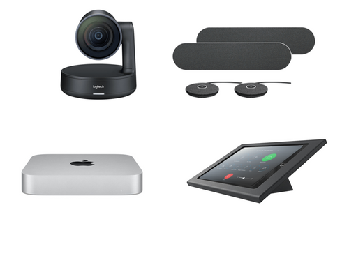 RingCentral Rooms kit with Logitech Rally Plus Camera with 2 Speakers, 2 Mics, Mac Mini, iPad, Heckler console & cables for Large Rooms (RALLYPLUS-MAC-RINGCENTRALROOMS)