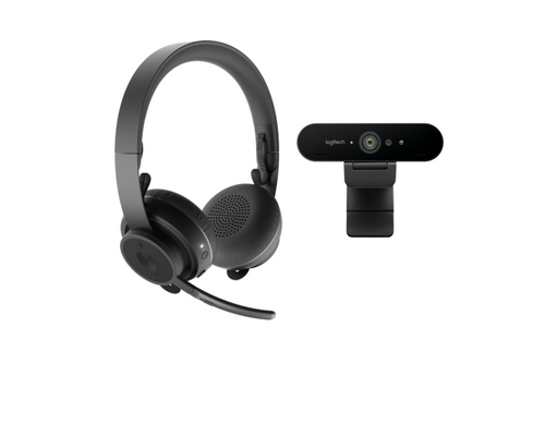 Pro Personal Video Collaboration Bundle featuring Logitech Zone Wireless Headset and Logitech Brio 4K  Home Office Work-from-Home Personal Video Conferencing 991-000344