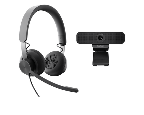 Personal Video Collaboration Bundle featuring Logitech Zone Wired Headset and Logitech C925e Webcam