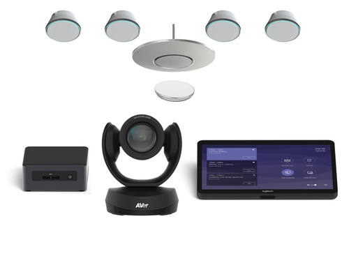 Microsoft Teams kit with Aver CAM520 Pro 2 and Stem Audio 1 Ceiling Mic and 4 PoE+ Speakers for Boardrooms