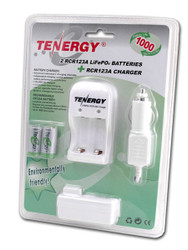 Tenergy 2 RCR123A 3.0V 750mAh LiFePO4 Battery charger Kit
