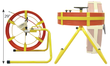 "Good Buddy - Detach of Fold Frame for Transport into Confined Areas • 300' and 400' lengths • Folds to 10"" width for carrying into manholes • Reel can be detached from frame • Frame handle for easy transport • Friction brake and safety roller feed • Operates vertically or horizontally 29""H x 29""L x 27""W (Folds to 10"" Width)"
