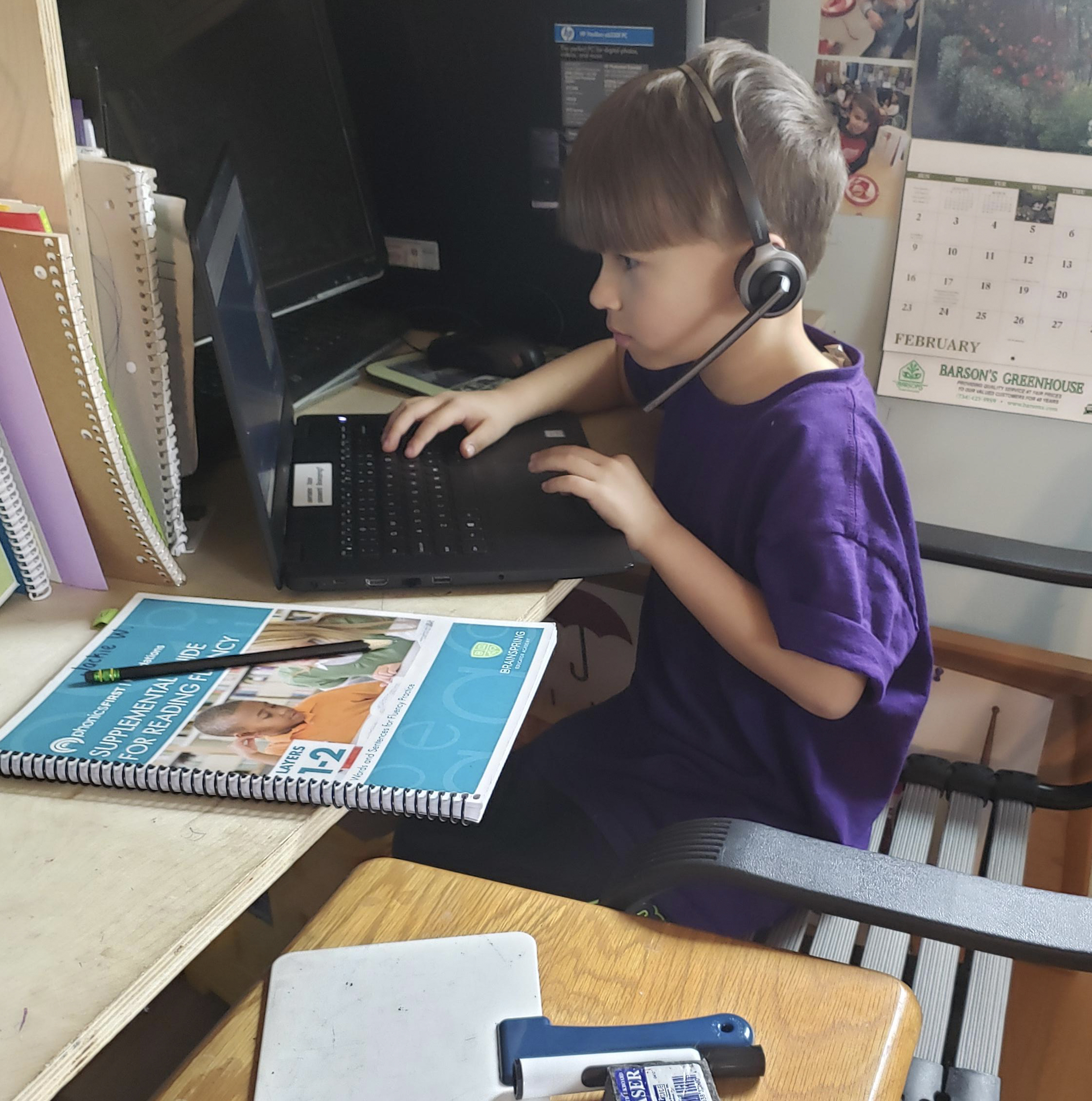Young Boy Doing Online Tutoring