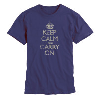 Keep Calm & Carry On Gentlemen's Navy Distressed T-Shirt