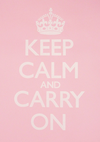 keep calm and carry on baby pink white poster