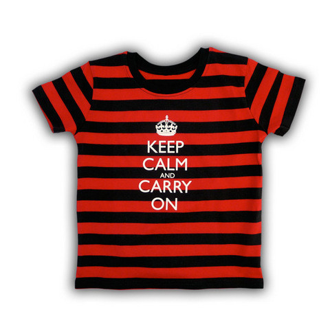 c865f4519 ... Keep Calm & Carry On Children's Black & Red Stripes T-Shirt. Image 1