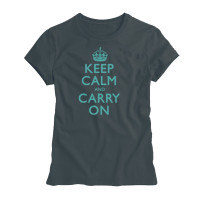 Keep Calm & Carry On Ladies Charcoal and Duckegg Blue T-Shirt