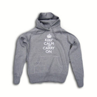 Keep Calm & Carry On Ladies Grey & Silver Foil Hooded Top