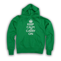 Keep Calm & Carry On Ladies Kelly Green & White Hooded Top