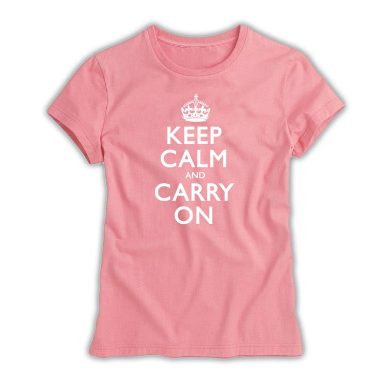 aba3d1d7b ... Keep Calm & Carry On Ladies White on Pink T-Shirt. Image 1