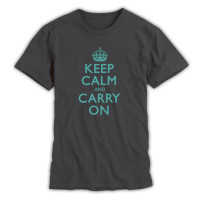 Keep Calm & Carry On Gentlemen's Charcoal Grey & Duck Egg Blue T-Shirt