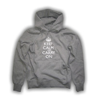 Keep Calm & Carry On Gentlemen's Grey Hooded Top
