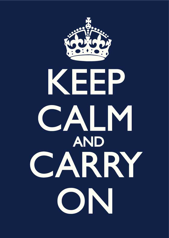 Keep Calm and Carry On Navy Blue & Old White Poster