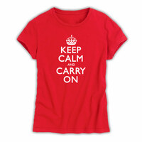 Keep Calm & Carry On Red & White Ladies T-Shirt