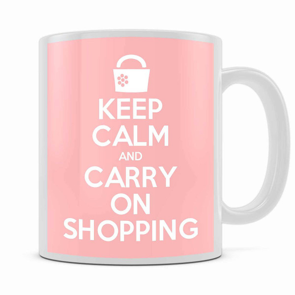 KEEP CALM AND CARRY ON SHOPPING MUG