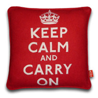 Keep Calm & Carry On Handmade Red Cushion