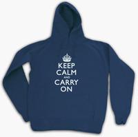 Keep Calm & Carry On Gentlemen's Navy Blue Hooded Top