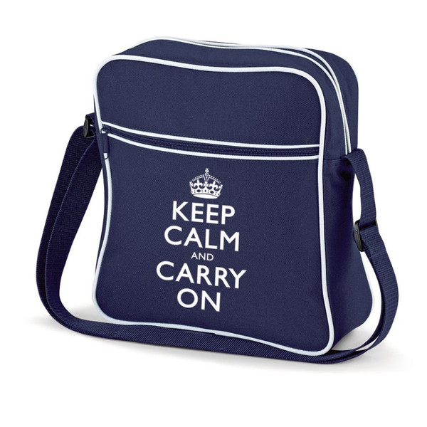 KEEP CALM AND CARRY ON FLIGHT BAG BLUE