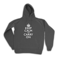 Keep Calm & Carry On Gentlemen's Charcoal Hooded Top