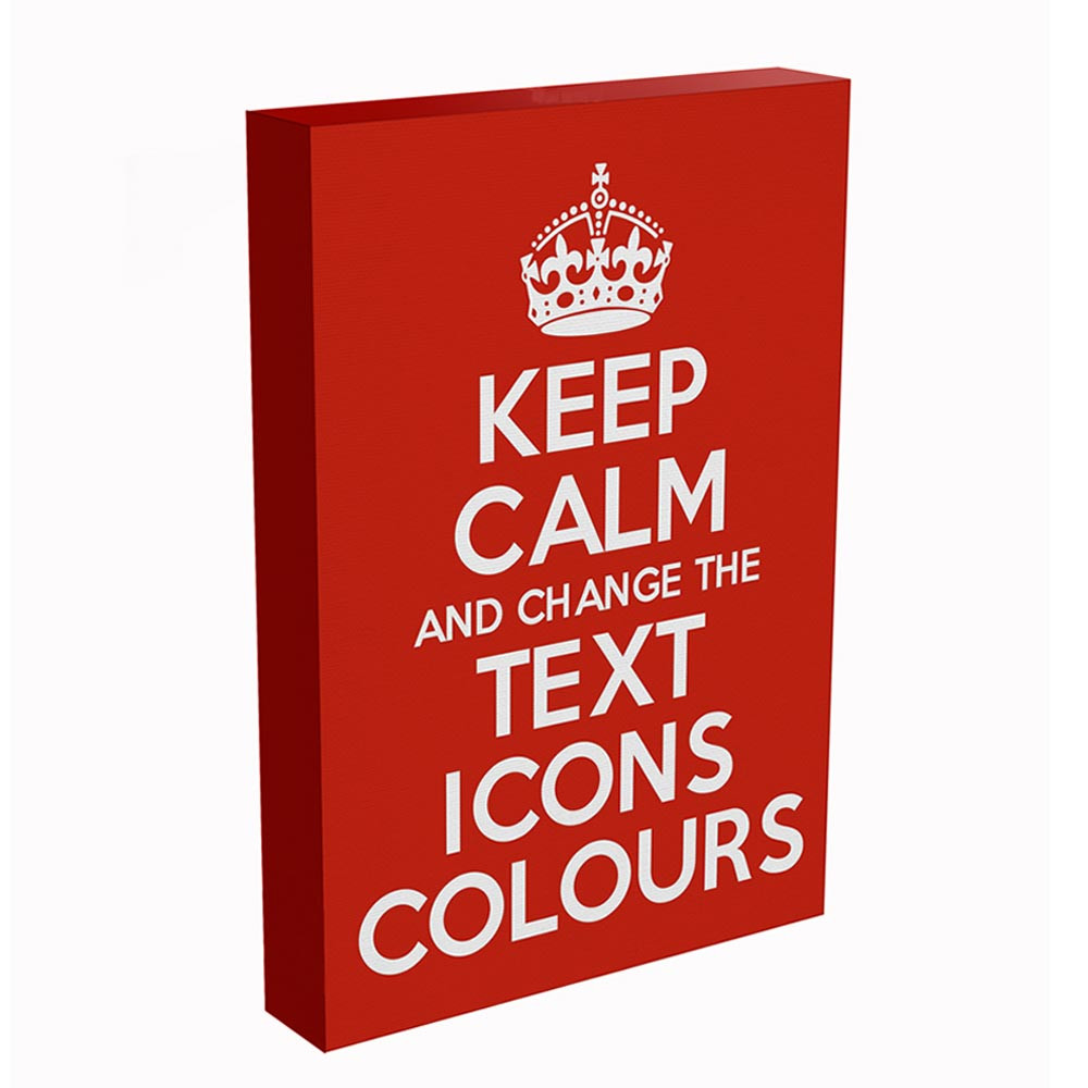 KEEP CALM AND CARRY ON CUSTOMISED BOX CANVAS