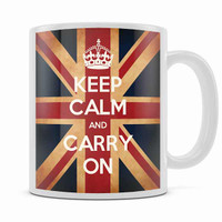 KEEP CALM AND CARRY ON UNION JACK MUG