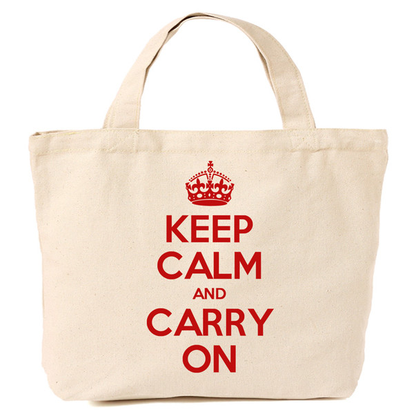 Keep Calm and Carry On Canvas Tote with Red Print