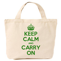 Keep Calm & Carry On Canvas Tote Shopping Bag Green Print