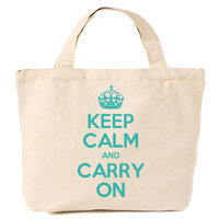 Keep Calm & Carry On Canvas Tote Shopping Bag Turquoise Print
