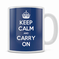 KEEP CALM AND CARRY ON NAVY BLUE MUG