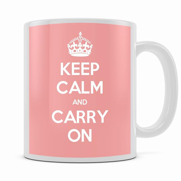 KEEP CALM AND CARRY ON PINK MUG