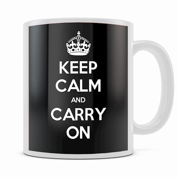 KEEP CALM AND CARRY ON BLACK MUG